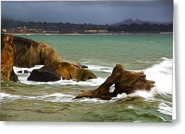 California Ocean Photography Paintings Greeting Cards - Window Rock In The Fog Greeting Card by Barbara Snyder