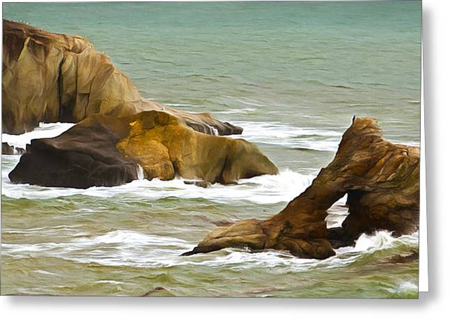 California Ocean Photography Paintings Greeting Cards - Window Rock In The Fog Detail Greeting Card by Barbara Snyder