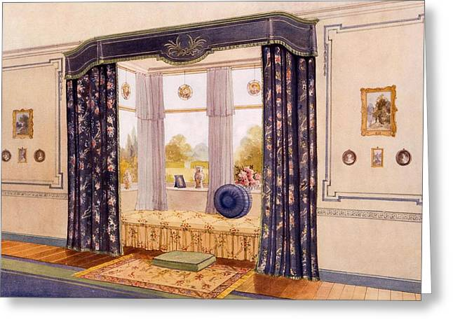 Curtains Drawings Greeting Cards - Window Seat Encased By Luxurious Greeting Card by Richard Goulburn Lovell