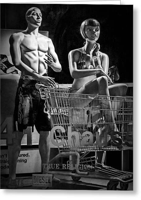 Apparel Greeting Cards - Window Shop Display in Ottawa Ontario with Mannequins Greeting Card by Randall Nyhof
