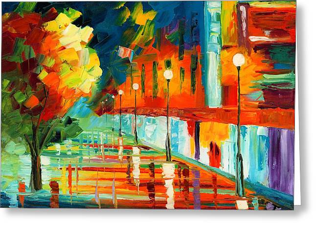 Night Lamp Greeting Cards - Window Shopping Greeting Card by Ash Hussein