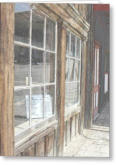 Historic Country Store Greeting Cards - Window Shopping          Colored Pencil Greeting Card by Mark Eisenbeil