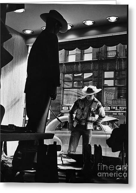 Store Fronts Greeting Cards - Window Shopping Cowboy Greeting Card by Photo Researchers