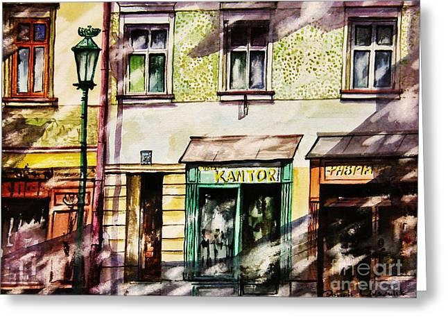 Night Lamp Greeting Cards - Window Shopping Greeting Card by Dariusz Orszulik