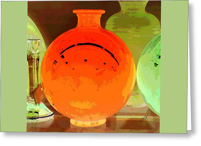 Tangerines Digital Greeting Cards - Window Shopping For Glass Greeting Card by Ben and Raisa Gertsberg