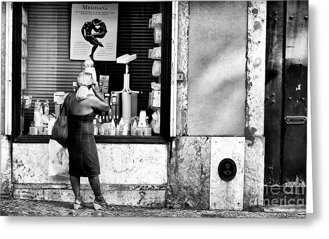 Window Shopping in Lisbon Greeting Card by John Rizzuto