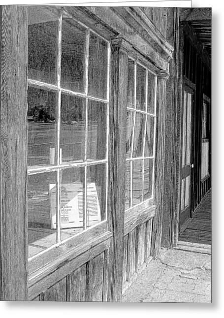 Historic Country Store Greeting Cards - Window Shopping        Pencil Greeting Card by Mark Eisenbeil
