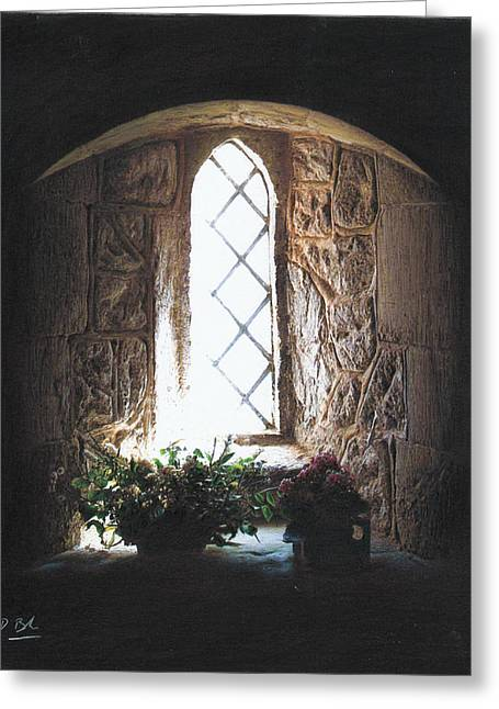 Interior Still Life Pastels Greeting Cards - Window Solitude Greeting Card by Darren Baker