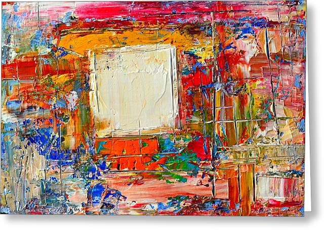 Abstract Expressionist Greeting Cards - Window Through Passing Time Greeting Card by Ana Maria Edulescu