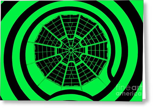 Hallways Greeting Cards - Window To Another World In Green - Black Greeting Card by Az Jackson