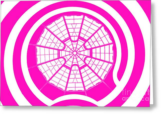 Guggenheim Greeting Cards - Window To Another World In Pink Greeting Card by Az Jackson