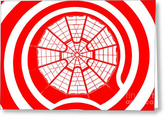 Guggenheim Greeting Cards - Window To Another World In Red Greeting Card by Az Jackson