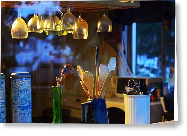 Hanging Wine Glasses Greeting Cards - Window To My Kitchen Greeting Card by Brian Wallace