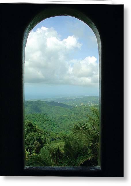Yokahu Tower Greeting Cards - Window to Paradise  Greeting Card by Jon William Lopez