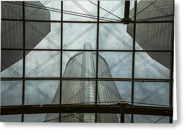 Renaissance Center Greeting Cards - Window to Renaissance Center Greeting Card by John McGraw