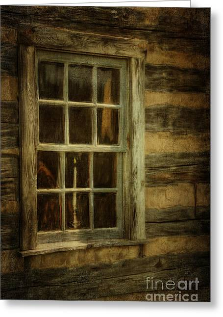 Cabin Window Greeting Cards - Window To The Past Greeting Card by Lois Bryan
