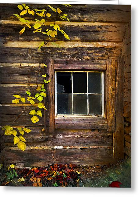 Mountain Cabin Greeting Cards - Window to the Soul Greeting Card by Debra and Dave Vanderlaan
