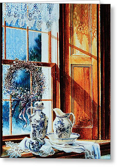 Lace Curtains Greeting Cards - Window Treasures Greeting Card by Hanne Lore Koehler