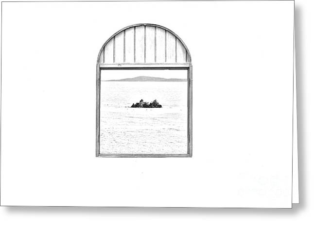 Window View Of Desert Island Puerto Rico Prints Black And White Line Art Greeting Card by Shawn O'Brien