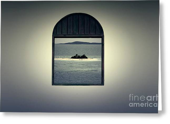 Puerto Rico Digital Greeting Cards - Window View of Desert Island Puerto Rico Prints Lomography Greeting Card by Shawn O
