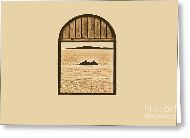 Window View Of Desert Island Puerto Rico Prints Rustic Greeting Card by Shawn O'Brien