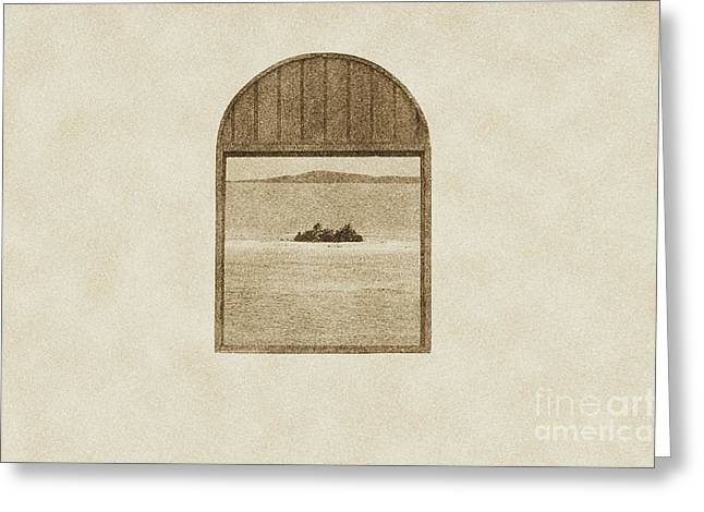Window View Of Desert Island Puerto Rico Prints Vintage Greeting Card by Shawn O'Brien