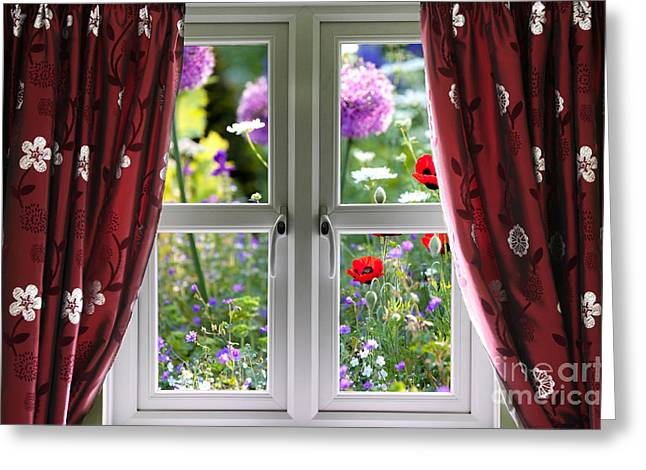Grow Inside Greeting Cards - Window view onto wild summer garden Greeting Card by Simon Bratt Photography LRPS