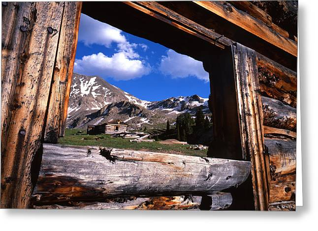 Cabin Window Greeting Cards - Window View Greeting Card by Ray Mathis