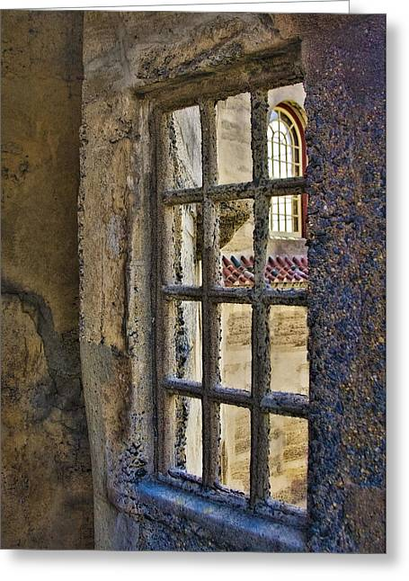 Byzantine Greeting Cards - Window View Greeting Card by Susan Candelario