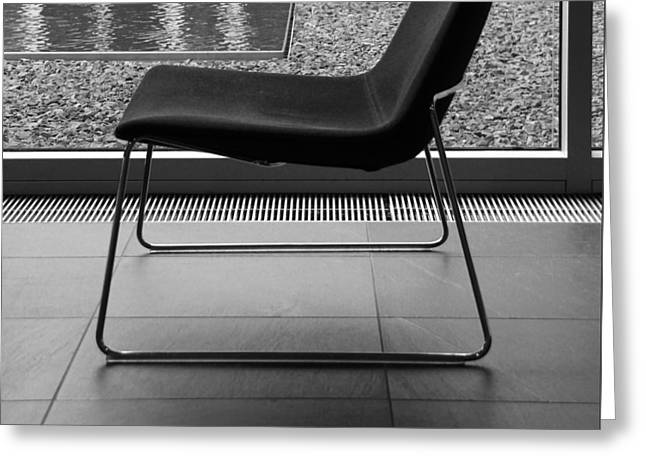 Light And Dark Greeting Cards - Window View With Chair In Black And White Greeting Card by Ben and Raisa Gertsberg