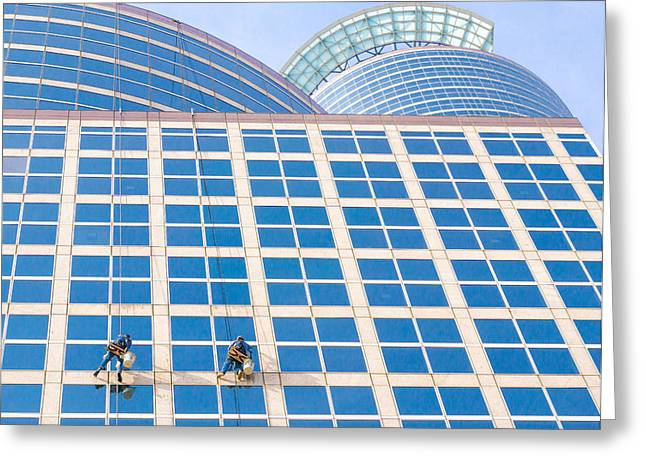 Height Greeting Cards - Window Washers Greeting Card by Jim Hughes