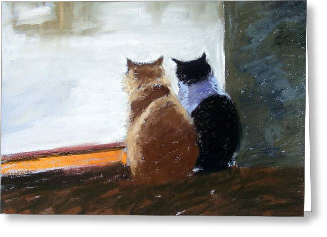 Watching Pastels Greeting Cards - Window Watching Greeting Card by Lenore Gaudet