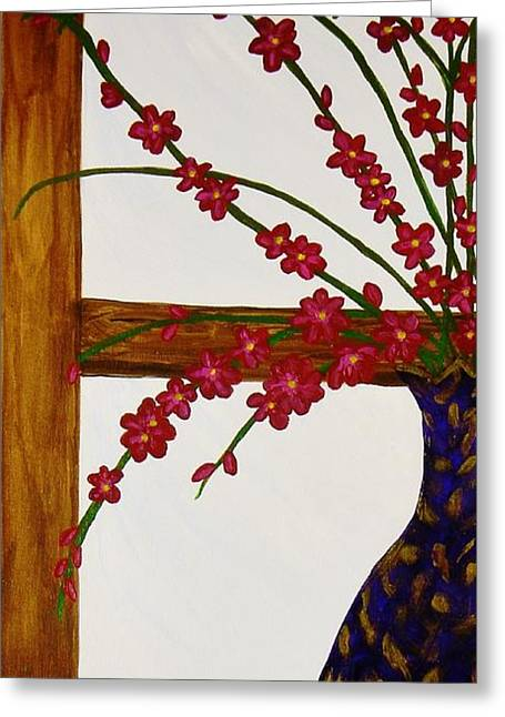 Canvas Framing Paintings Greeting Cards - Window With A View Greeting Card by Celeste Manning