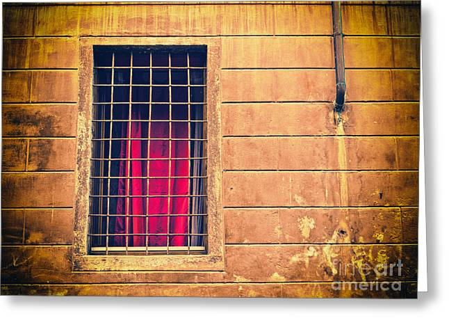 Grate Greeting Cards - Window with grate and red curtain Greeting Card by Silvia Ganora