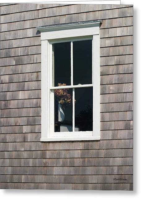 Window With Hydrangea On The Vineyard Greeting Card by Michelle Wiarda