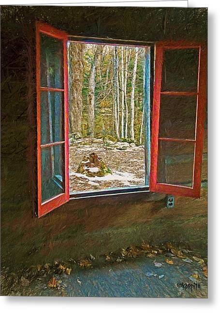 Cabin Window Digital Art Greeting Cards - Window with View Abandoned Elkmont Log Cabin Autumn Greeting Card by Rebecca Korpita