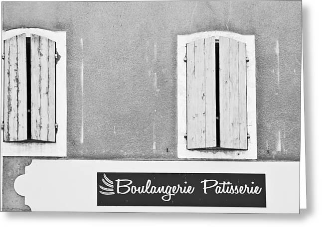 Sign Writing Greeting Cards - Windows Above the Boulangerie Greeting Card by Nomad Art And  Design