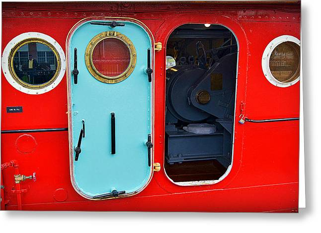 Barges Greeting Cards Greeting Cards - Windows and Doors on The Big Red Tug Greeting Card by Carol Toepke