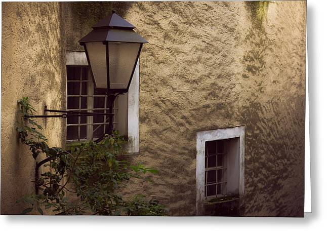 Salzburg Photographs Greeting Cards - Windows and lamp Greeting Card by Chris Fletcher