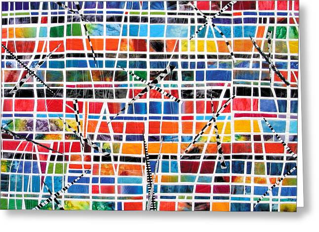 Breezy Mixed Media Greeting Cards - Windows - landscape Greeting Card by Bethan Ash