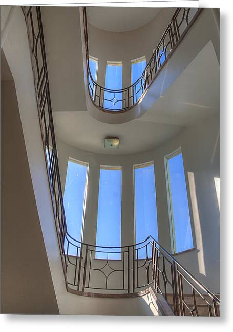 Windows From Below Greeting Card by Jean Noren