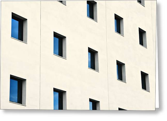 Large Blocks Of Color Greeting Cards - Windows In An Office Building Greeting Card by Ken Welsh