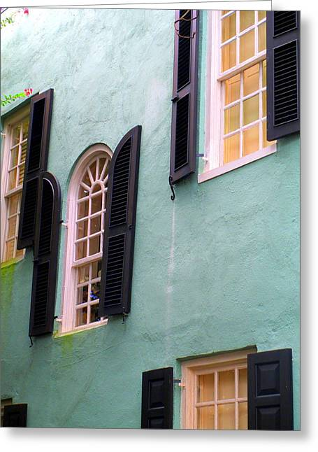 Rainbow Row Greeting Cards - Windows In Charleston Greeting Card by Randall Weidner