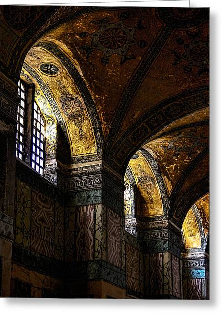 Istanbul Greeting Cards - Windows in the Blue Mosque Greeting Card by Marion McCristall