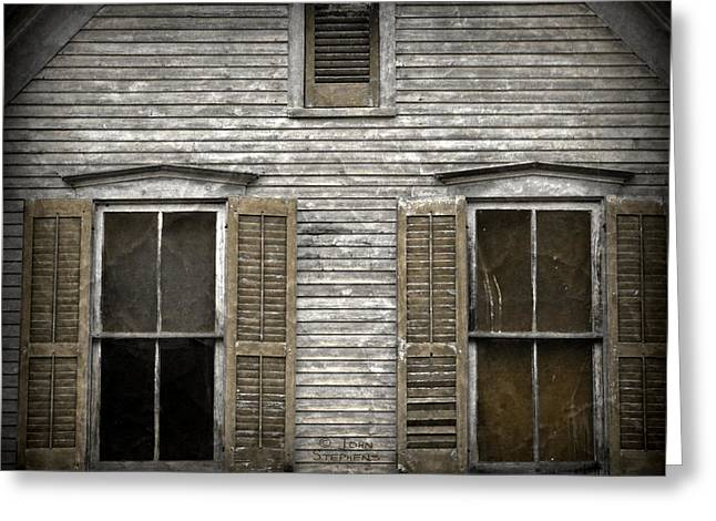 Broken Shutters Greeting Cards - Windows Of Abandon Greeting Card by John Stephens