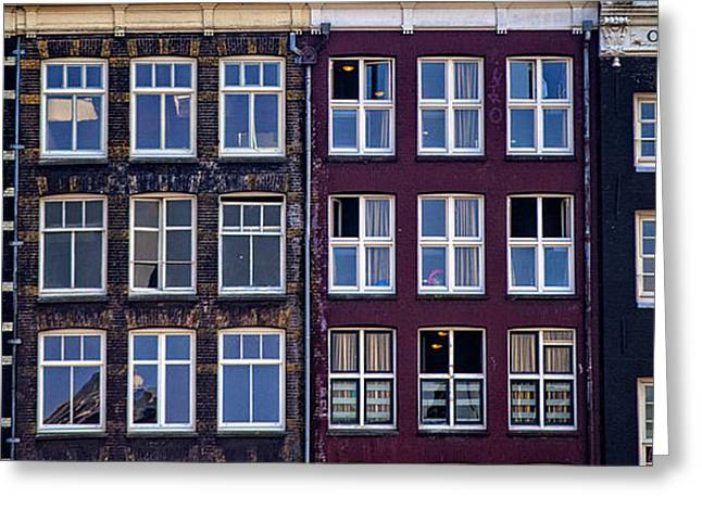 Historical Buildings Greeting Cards - Windows of Amsterdam. Holland Greeting Card by Jenny Rainbow