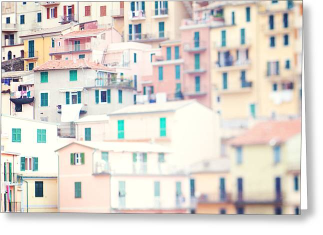 Monterosso Greeting Cards - Windows of Cinque Terre Italy Greeting Card by Kim Fearheiley
