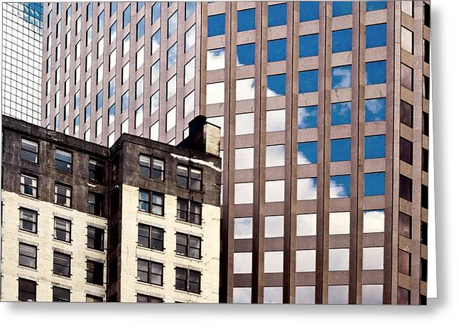 Geographic Location Greeting Cards - Windows of Downtown New York Greeting Card by Kellice Swaggerty