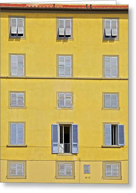 Carved Stone Greeting Cards - Windows of Florence Against a Faded Yellow Plaster Wall Greeting Card by David Letts