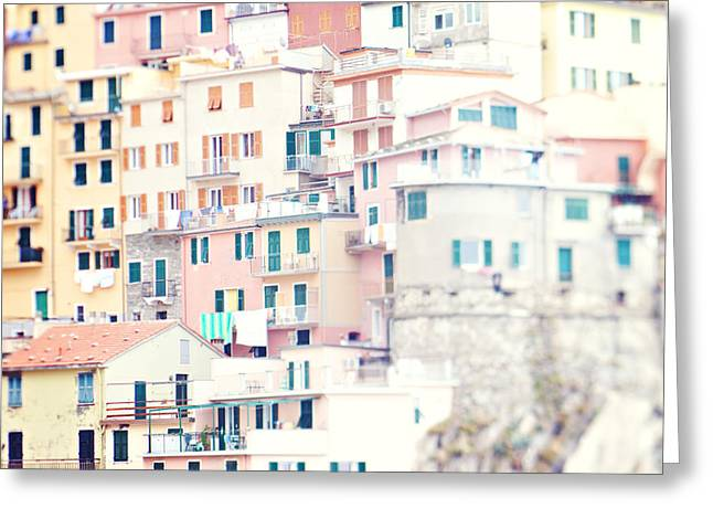 Monterosso Greeting Cards - Windows of Manarola Cinque Terre Italy Greeting Card by Kim Fearheiley